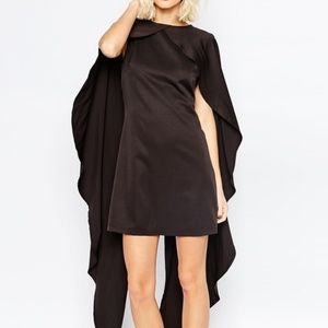 Lavish Alice Formal Black Satin Sheath Cape Dress